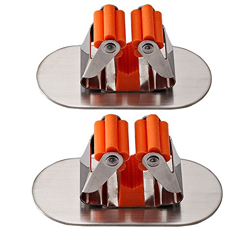 ROOS Kitchen Bathroom Mop Broom Holder Wall Mounted Organizer Brush Storage Hanger Pack of 2