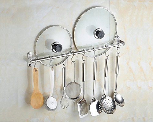 "2pcs Wall Mounted Pan Pot Rack Kitchen Utensils Hanger Organizer Lid Holder 15"" Stainless Steel 15 Hooks Multipurpose"