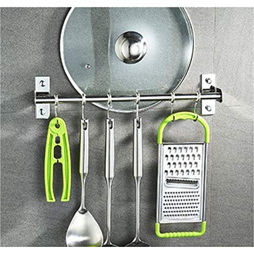 Yiwa Stainless Steel Hanging Rod with Hooks Wall Mounted Utensil Hanging Rack Holder Tool for Kitchen Cupboard Bathroom