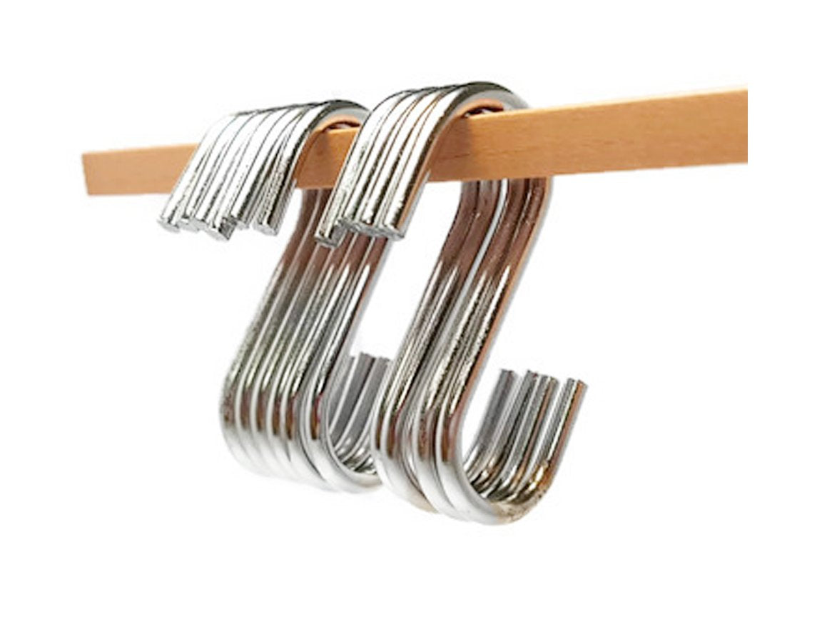"K-56 S-Shaped Utility Hooks Stainless Steel Hanging Hooks Hangers for Office, Kitchen and Bedroom 10PCS, 2"" (KHK2)"