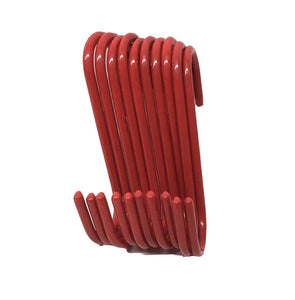 Set of 10 pc S Shape Utility Hook Set, Vinyl Coated or Chromed Wire (Red Vinyl)