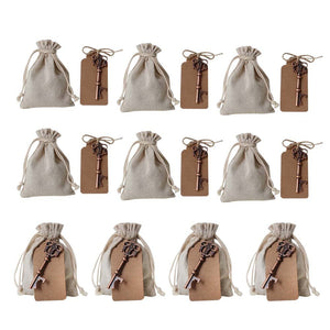 Awtlife 50 Pcs Wedding Favors Vintage Key Bottle Opener with Escort Card Tag and Linen Bag for Guests Party Favors Rustic