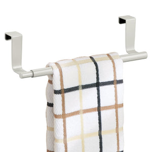 mDesign Over-the-Cabinet Expandable Kitchen Dish Towel Bar Holder - Pearl White