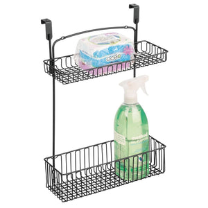 mDesign Metal Farmhouse Over Cabinet Kitchen Storage Organizer Holder or Basket - Hang Over Cabinet Doors in Kitchen/Pantry - Holds Dish Soap, Window Cleaner, Sponges - Matte Black