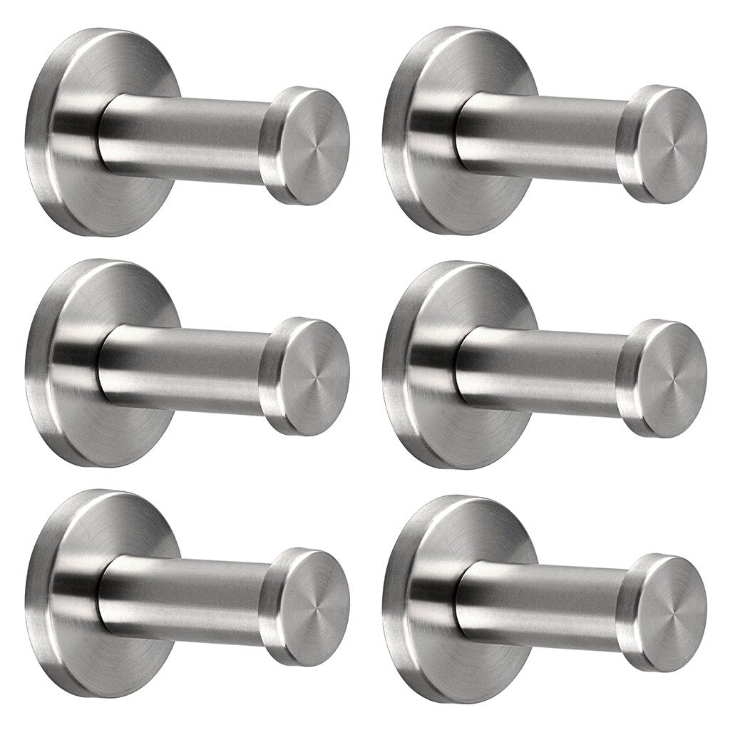 Sumnacon Brushed Stainless Steel Towel Hook, 6 Pcs Wall Mount Robe Coat Hangers Holder - Heavy Duty Contemporary Towels Hooks for Bedroom, Bathroom, Living Room, Fiting Room, Office