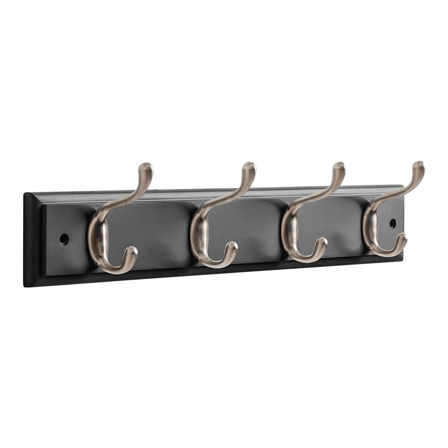 "OCCO Resko H5.5"" x W17.7"" x D2.75"" / H14cm x W45cm x D7cm Coat Rack Wall Mounted With Coat Hooks I Strong Wall Hooks Heavy Duty I 4 Brushed Nickel Coat Hook On Black Board I Wall Hooks Decorative"