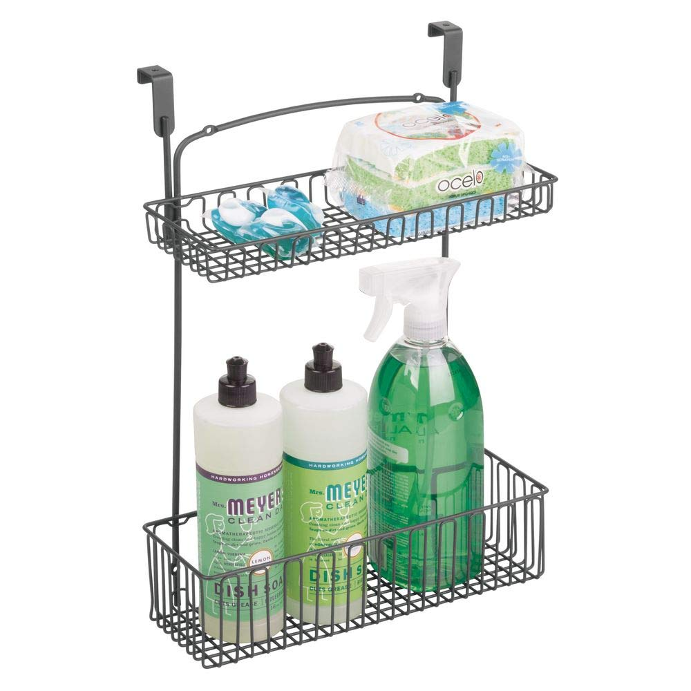 mDesign Metal Farmhouse Over Cabinet Kitchen Storage Organizer Holder or Basket - Hang Over Cabinet Doors in Kitchen/Pantry - Holds Dish Soap, Window Cleaner, Sponges - Graphite Gray