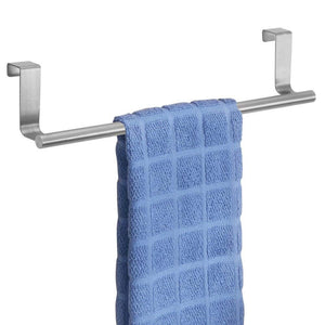 "mDesign Over-the-Cabinet Kitchen Dish Towel Bar Holder - 14"", Brushed Stainless Steel"