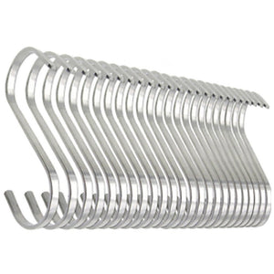 Deezio Stainless Steel S Hooks, S Shaped Hanging Hooks, Metal Kitchen Pot Pan Rack Accessory Hooks (Pack of 24)