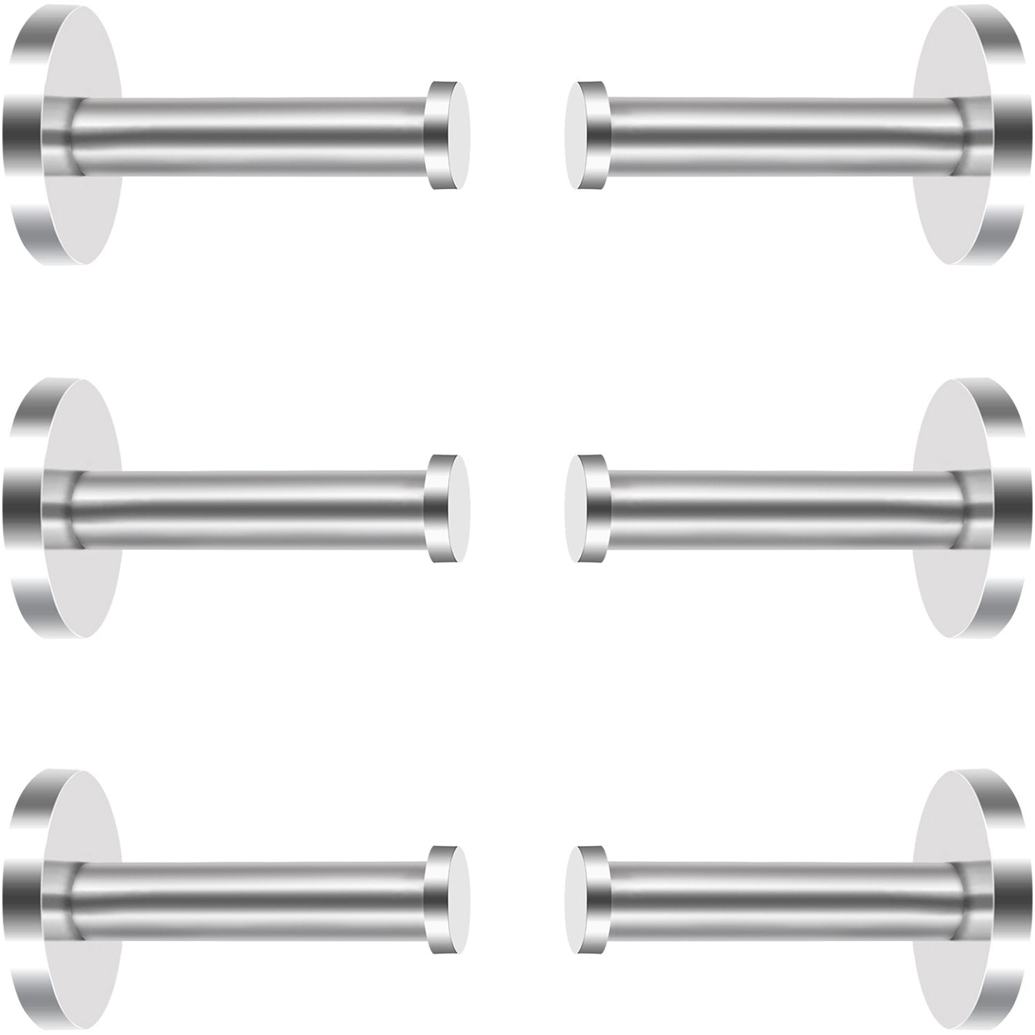 6 Pieces Stainless Steel Wall-Mount Robe Hook Coat Hook Towel Wall Hook, Brushed Nickel (1.9 Inch, Silver)