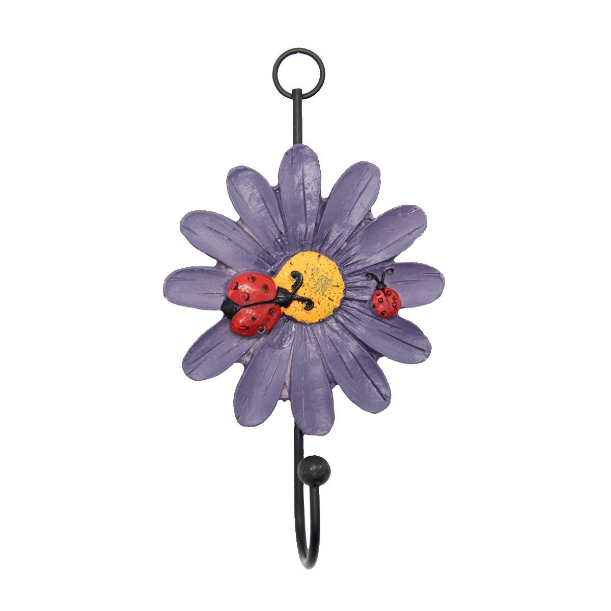 Mochiglory Home Decoration Cute Ladybug and Daisy Flower Resin Wall Hook Utility Wardrobe Hook