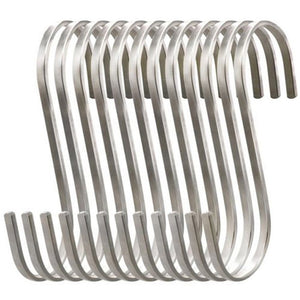 Deezio Heavy Duty S Hooks Stainless Steel S Shaped Hanging Hooks, Metal Kitchen Pot Pan Rack Accessory Hooks (Pack of 12)