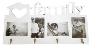 "Family Love Photo Frame Coat Hook Rack | 4-Slot Picture Collage | Four Coat or Utility Hooks | 21.75""L x 11.5""H Frame, 4"" x 6"" Photos (White)"