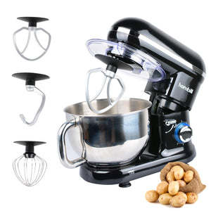 Hornbill Tilt-head Stand Mixer, Electric Mixer 600W 6-Speed 5-Quart Stainless Steel Bowl Professional Kitchen Mixer With Dough Hook, Whisk, Beater(Black)
