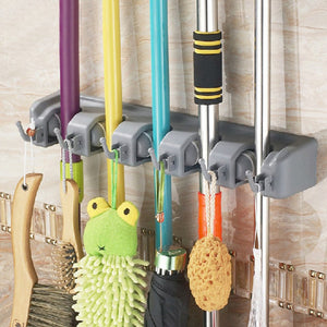 Multi-functional Plastic Mop Broom Holder with Hooks and Slots#1113(5C6)