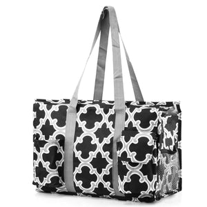Zodaca Lightweight All Purpose Utility Tote Bag, Black Quatrefoil