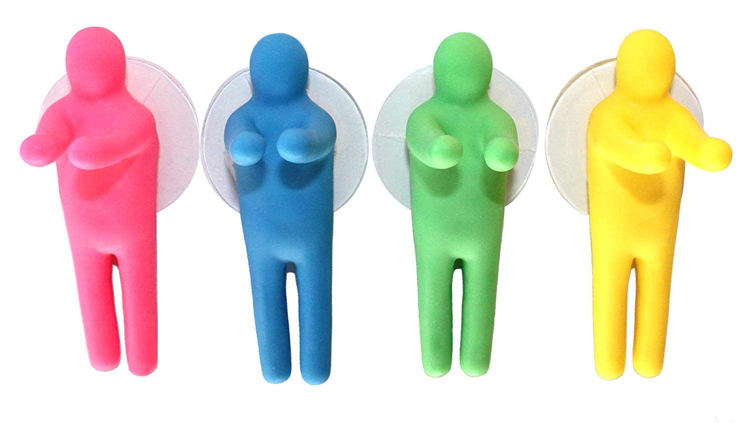 Lucore Colorful People Toothbrush Holder And Utility Suction Hook, Set of 4 Pc