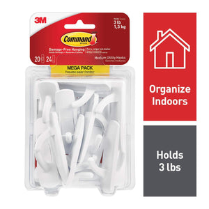 Command White Hooks, 20 hooks, 24 strips, Holds 3 lbs