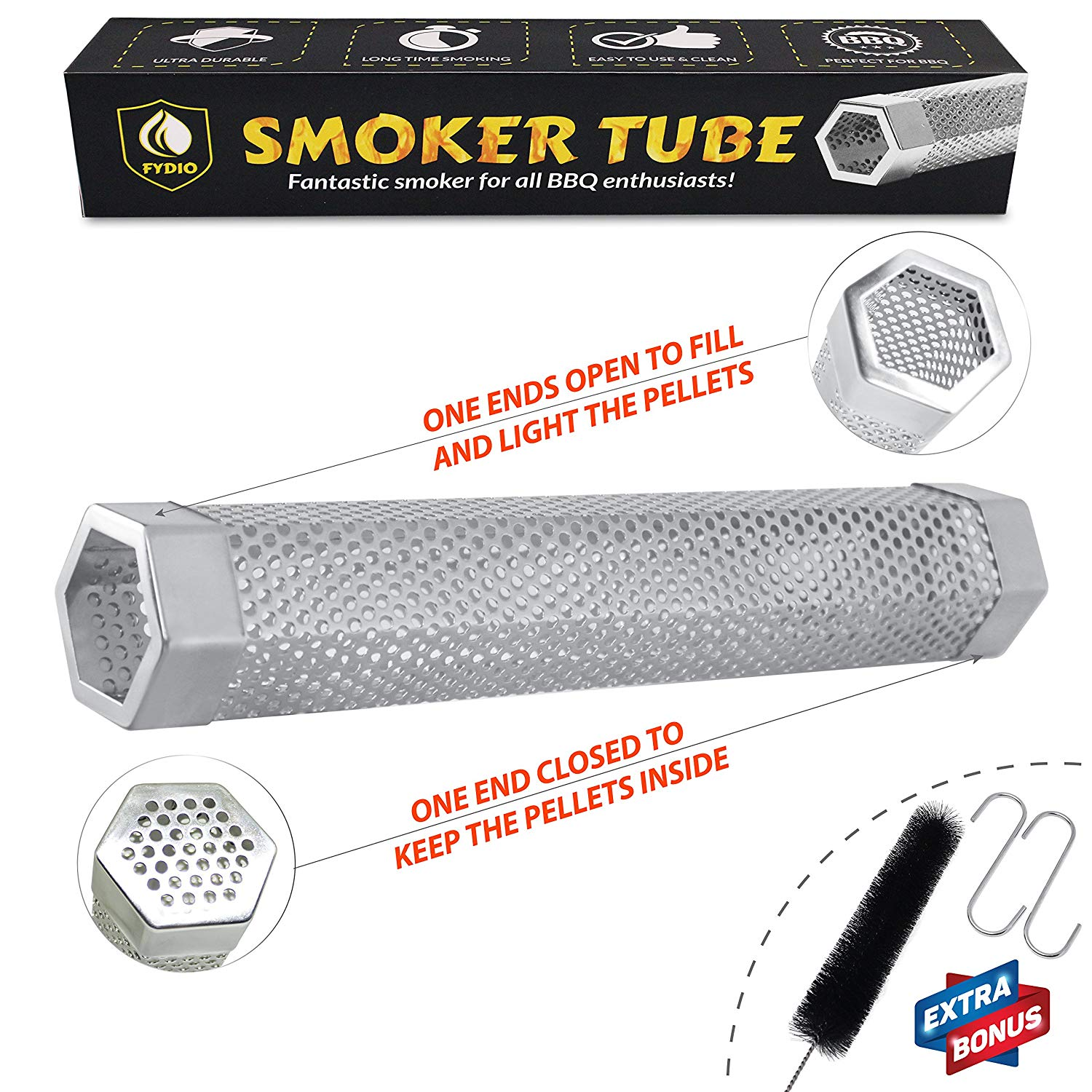 Fydio Premium Smoker Tube 12 Inch: Stainless Steel Hexagon Tube | Perfect for BBQ | Tasty Smoke Flavor | Work on any Grill or Smoker with Hot or Cold Smoking | FREE BONUS: Tube Brush & 2 S-Hooks