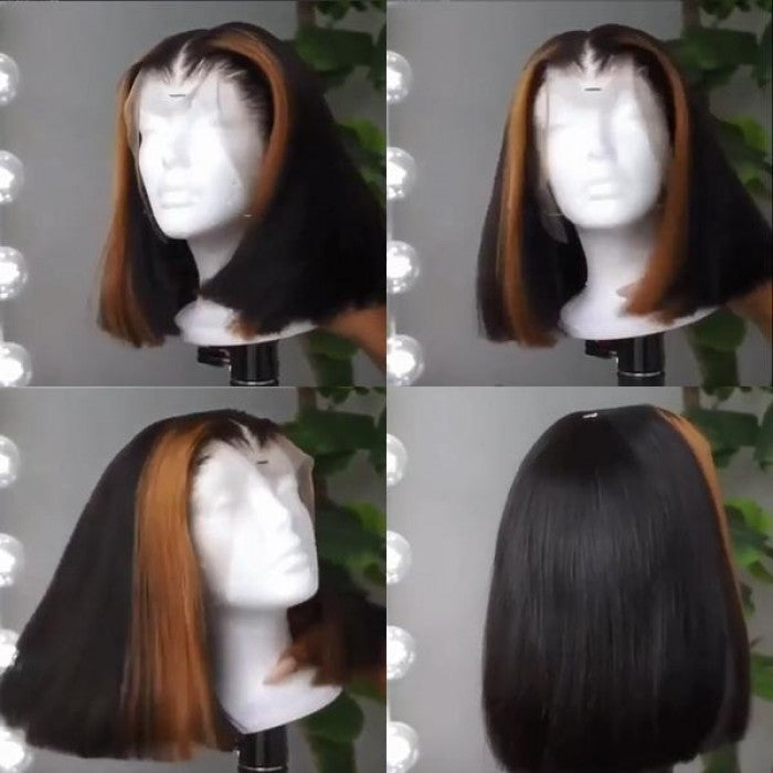 Blonde Highlight Straight Custom Lace Front BOB Wig