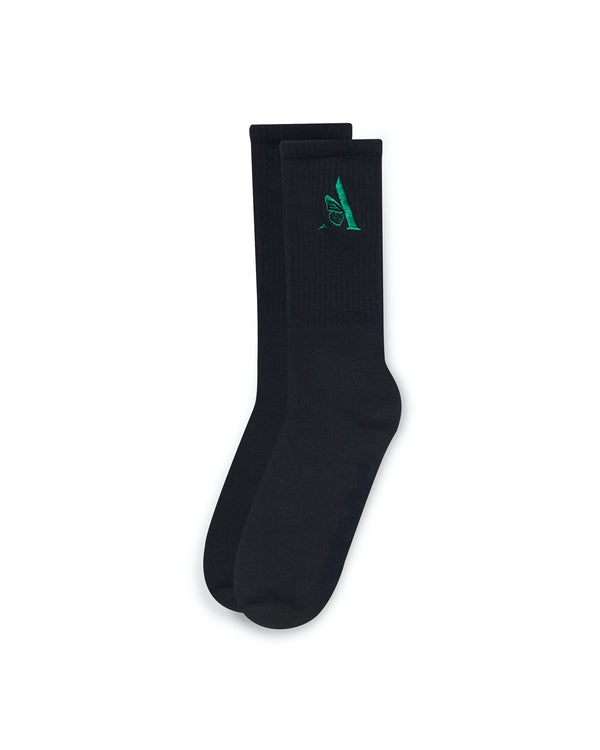 EMBROIDERED  SOCKS | BLACK/GREEN