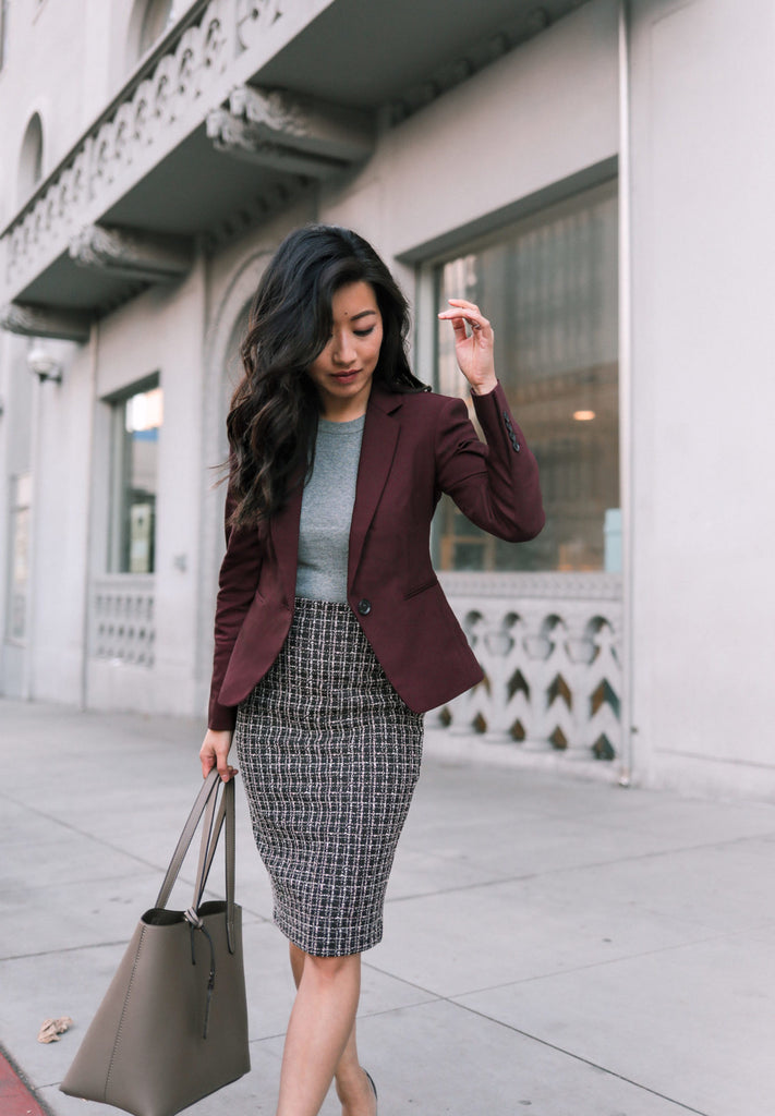 Wine blazer + stretch skirt (both on sale!)