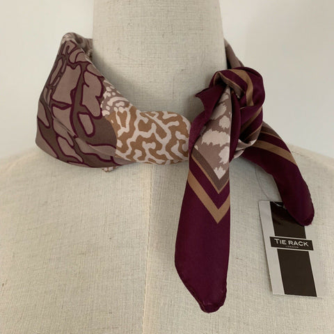Tie Rack London Women's Made In Italy Square Purple Neck Scarf NWT B229