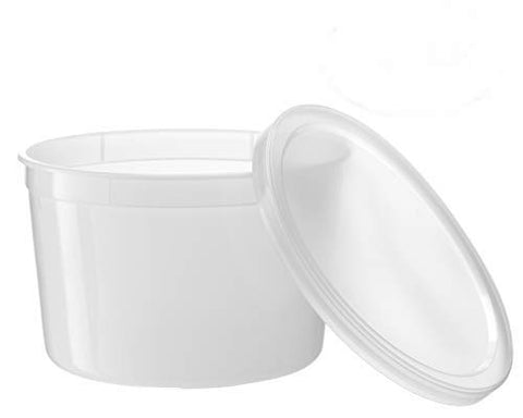 Basix Freezable Clear Food Storage Deli Containers with Lids 64-Ounce, Freezer Container Round, Perfect for Food Prep, Soup Storage or Ice Cream Storage, Pack of 20