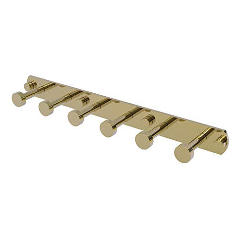 Allied Brass FR-20-6 Fresno Collection 6 Position Tie and Belt Rack Decorative Hook, Unlacquered Brass