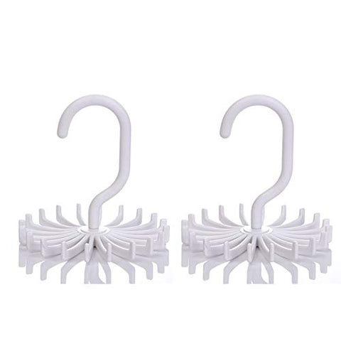 IZUS Tie Belt Rack-Hanger-Holder-Organizer-Hooks Men - 360 Degree Rotating 20 Hooks (2pack) (White)
