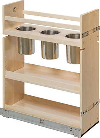 "Century Components CASCAN85PF Kitchen Base Cabinet Pull-Out Canister Organizer - 8-7/8""W x 26-3/4""H x 21-1/2""D - Baltic Birch - Blum Soft Close Slides"