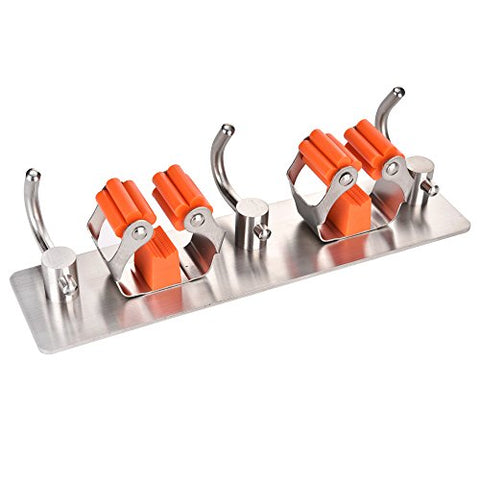 AUSTY Mop Broom Holder,2 Position with 3 Hooks, Cleaning Tools Storage Organizer Wall Mounted Stainless Steel Rack for Kitchen Garage Garden