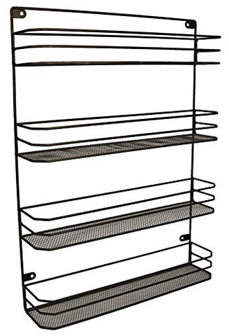 KitchenEdge 4 Tier Wall Mounted Kitchen Pantry Soup and Spice Rack Storage Organizer, Black