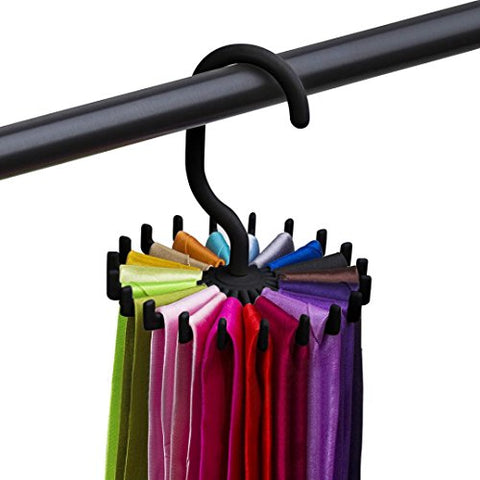 Inkach Tie Belt Rack Hanger - 360 Degree Rotating Scarf Holder 20 Hooks for Closet Organizers Space Saver (Black)