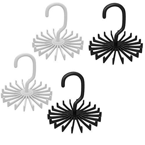 4 Pack Adjustable Rotating Rack Hanger for Closet Organizer Storage with 20 Hooks for Neck Ties and Belt(Black)