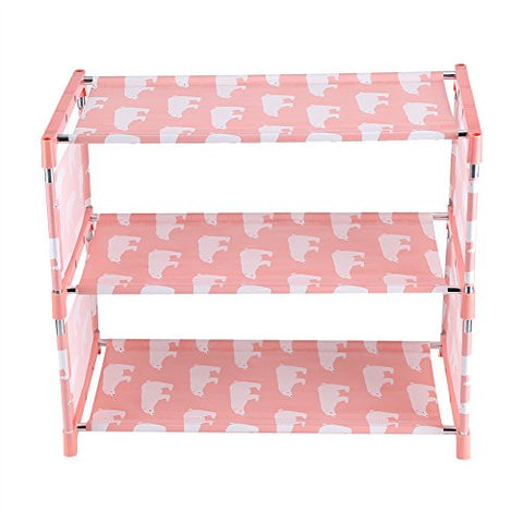 Fdit 3 Tier Stackable Shoe Shelves Portable Shoe Tower Closet Rack Storage Cabinet Boot Organizer Shoe Stand(Pink)
