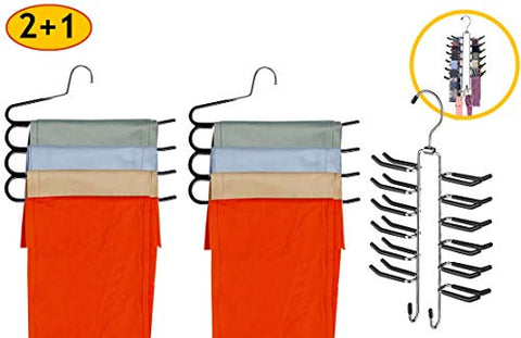 Frank Pressie Heavy Duty Pants Hangers Space Saving Non Slip Skirt Hanger Open Ended Pant Organizer Clothes and Multifunctional Tie Rack for Belts Pack of 3