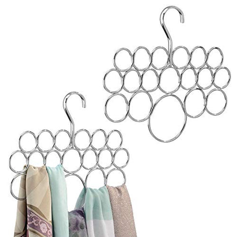 InterDesign Axis Metal Loop Scarf Hanger, No Snag Closet Organization Storage Holder for Scarves, Men's Ties, Women's Shawls, Pashminas, Belts, Accessories, Clothes, Set of 2, 18 Loops Each, Chrome