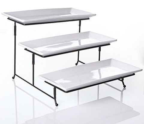 "3 Tier Collapsible Thicker Sturdier Plate Rack Stand With Plates - Three Tiered Cake Serving Tray - Dessert Fruit Presentation - Party Food Server Display - 3 White 12' x 6"" Porcelain Platters Incl."