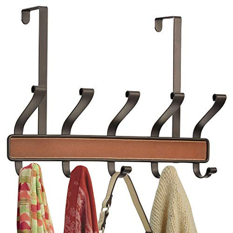 "iDesign Laredo Metal 5-Hook Over-the-Door Rack for Coats, Hats, Scarves, Towels, Robes, Jackets, Purses, 18"" x 4"" x 11.5"", Brown and Bronze"