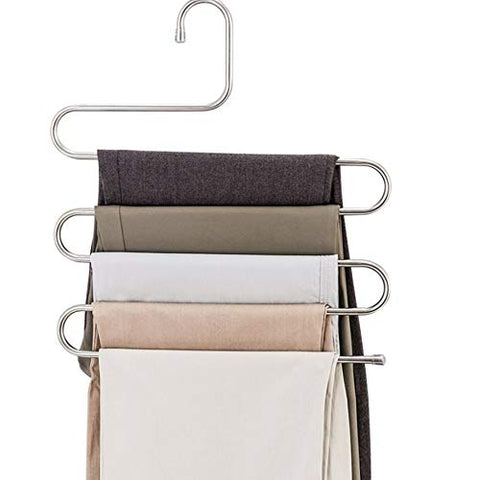 LEF 3-Pack S-Type Stainless Steel Hangers for Space Consolidation, Scarfs, Closet Storage Organizer for Pants, Jeans, Ties, Belts, Towels