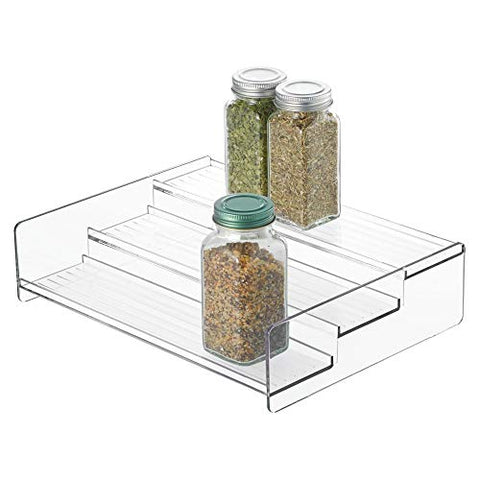 "iDesign Linus Plastic Stadium Spice Rack, 3-Tier Organizer for Kitchen Pantry, Cabinet, Countertops, Shelf, 8.12"" x 10.62"" x 2.62"", Clear"