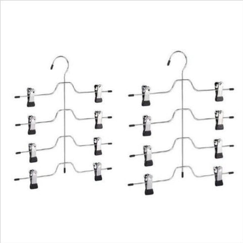 4 Tier Trouser/Skirt Hanger - Chrome & Black Vinyl - 2 PACK
