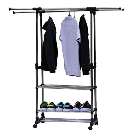 Bulary 3 Tiers Stainless Steel Clothing Garment Shoe Rack Dual Bars Horizontal & Vertical Telescope Style