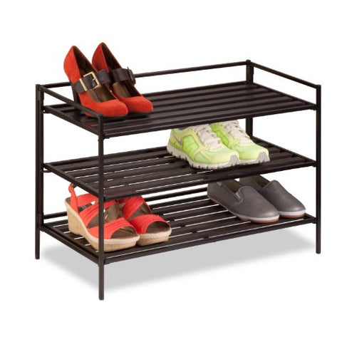 Honey-Can-Do SHO-03012 Stackable Composite Metal Shoe and Accessory Rack, 3-Tier, 26.6 by 12.12 by 18.5-Inch, Brown