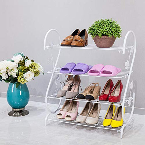 AXDT Iron Multi-Layer Shoe Rack Shelf Storage, Multifunctional Metal Shoe Stand Organizer Cabinet for Closet Bedroom Entryway