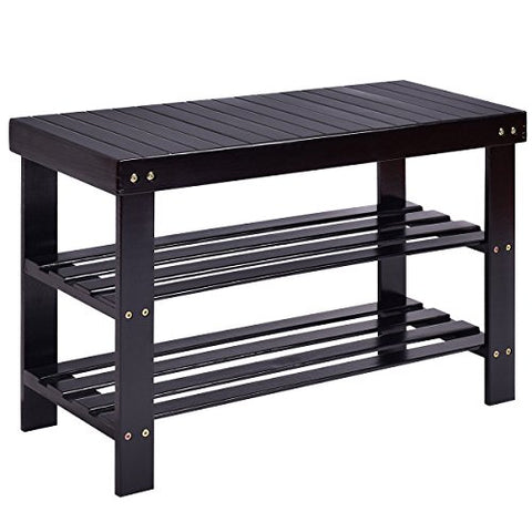 COSTWAY Bamboo Shoe Rack Bench 3-Tier Free Standing Wood Shoe Storage Organizer Shelf Holder Home Entryway Hallway Furniture Eco-Friendly(Black)