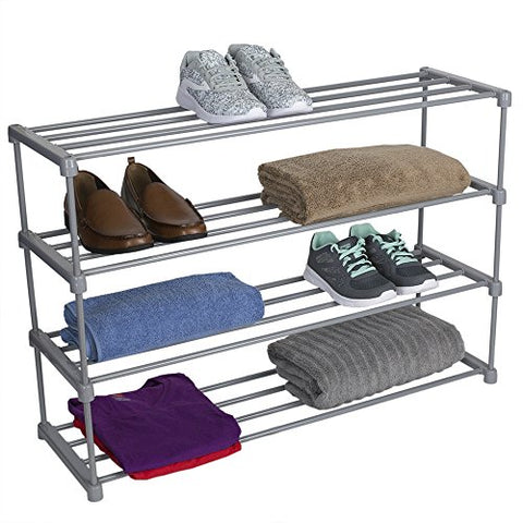 Home Basics Multipurpose Space Saving 20 Pair Shoe Rack Shelf Organizer, Wide, Grey