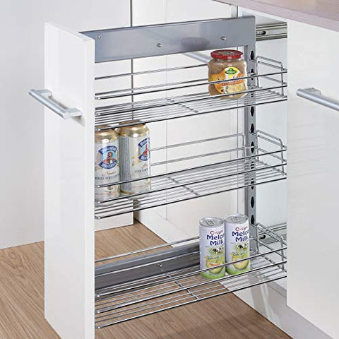 "Kitchen Hardware Collection 8 Inch Pull Out Cabinet Spice Organizer 3 Tier Kitchen Spice Rack Organizer 18.5""Lx8""Wx25.9""H Pullout Sliding Shelf Chorme"