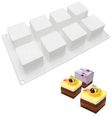 Joho Silicone Baking Molds Square Mold,Silicone Mold for Mousse Cake,Dessert Molds for Chocolate Pastry,3D Cube Shape,8-Cavity